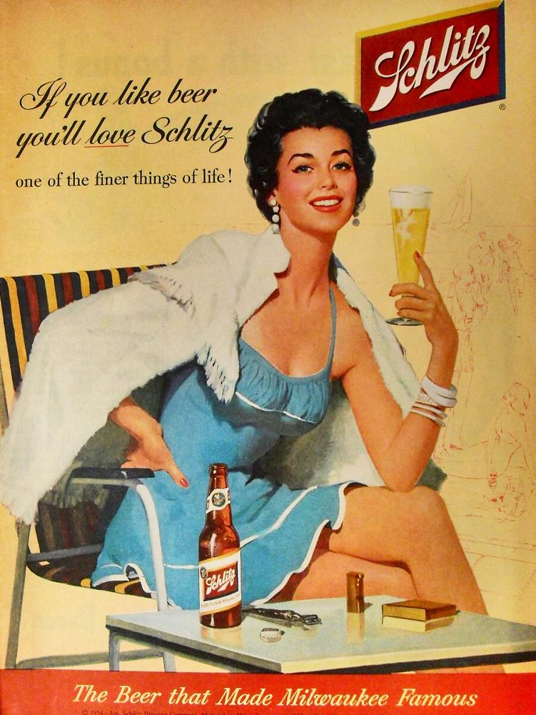 An old advert with a woman sitting at a 45 degree angle - the Universally Flattering Angle.