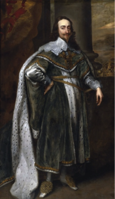 A painting of a monarch from below, posing with his hand on his hip, looking regal.