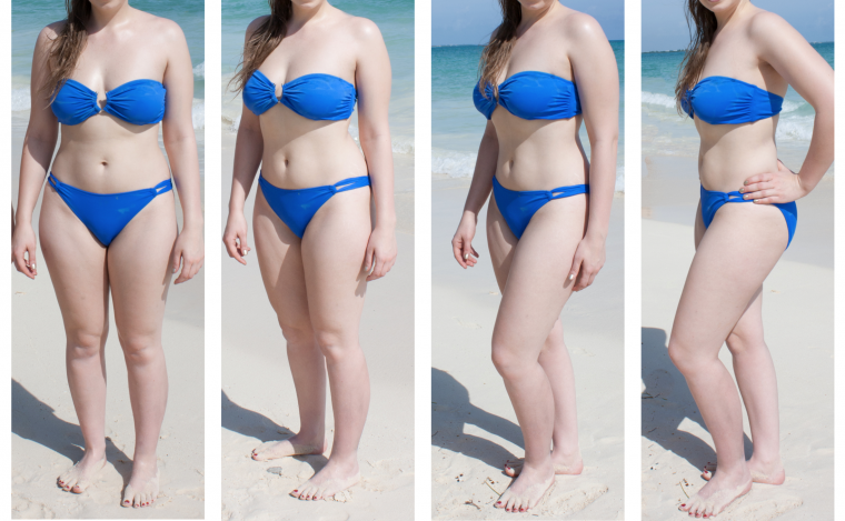 Four photos of a woman on the beach in a bikini, each taken with her posing at a different angle to the camera. She looks slimmer as she changes her pose towards the angle of 45 degrees.