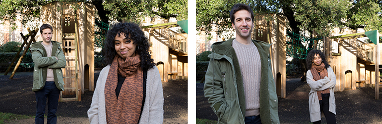 A pair of photos of a man and a woman in a park. In the first, the woman poses closer to the camera and looks much bigger than him. In the second, the man poses closer to the camera and looks much bigger than her.