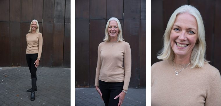 Three photos of an older woman, taken at different heights and distances.