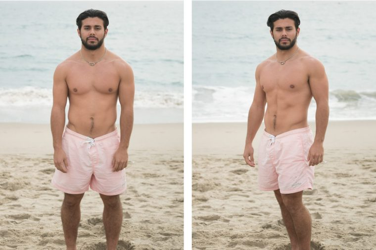 A pair of photos of a man on the beach in a bathing suit. In the first, he poses straight on to the camera. In the second, he poses at a 45 degree angle, looking slimmer and more natural.