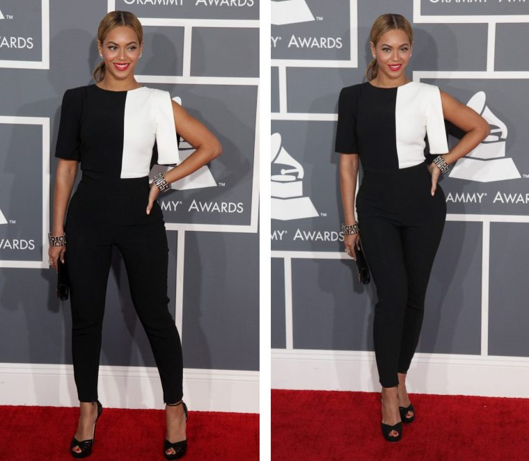 Two photos of Beyonce. The straight on pose makes her look powerful and dominant. The slightly angled pose makes her look slimmer and sexier.