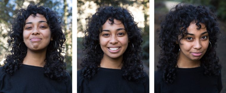 A trio of photos of a smiling woman's face. Her facial features appear different sizes depending on whether she tilts her chin up or down.