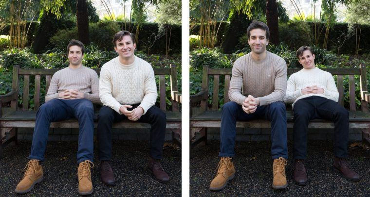 A pair of photos of two men sitting on a park bench. Their apparent sizes change dramatically depending on whether they are sitting forwards or backwards on the bench.