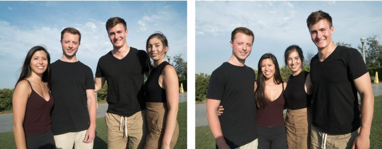 A pair of photos of two men and two women standing at different places in a semicircle. Their sizes depends on where in the semi-circle they are standing.