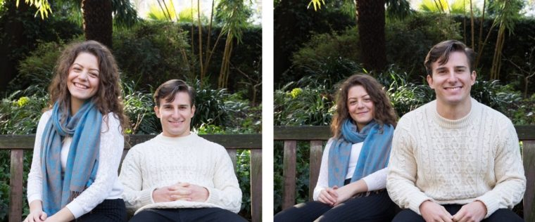 A pair of photos of a couple sitting on a park bench. In the first photo, the woman looks bigger because she is sitting forward on the bench. In the second photo, the man looks bigger because he is sitting forward on the bench.