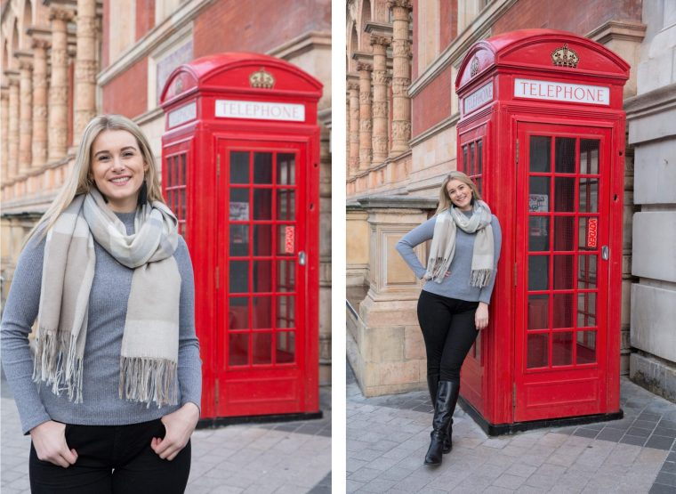 A pair of photos of a woman posing next to a London telephone box. In the first photo she poses close to the camera and looks bigger. In the second photo she stands next to the phone box and looks proportionate.