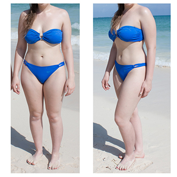 A pair of photos of a woman on the beach in a bikini. In the first, she poses straight on. In the second, she poses at an angle, looking slimmer.